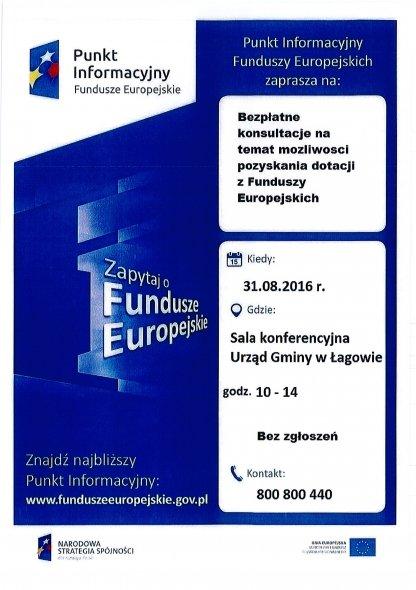 Mobilny Punkt Informacyjny Funduszy Europejskich wUrzędzie Gminy wŁagowie