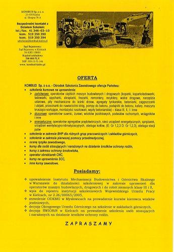 Zaproszenie na bezpłatny kurs dla operatorów koparkoładowarek kl. III.