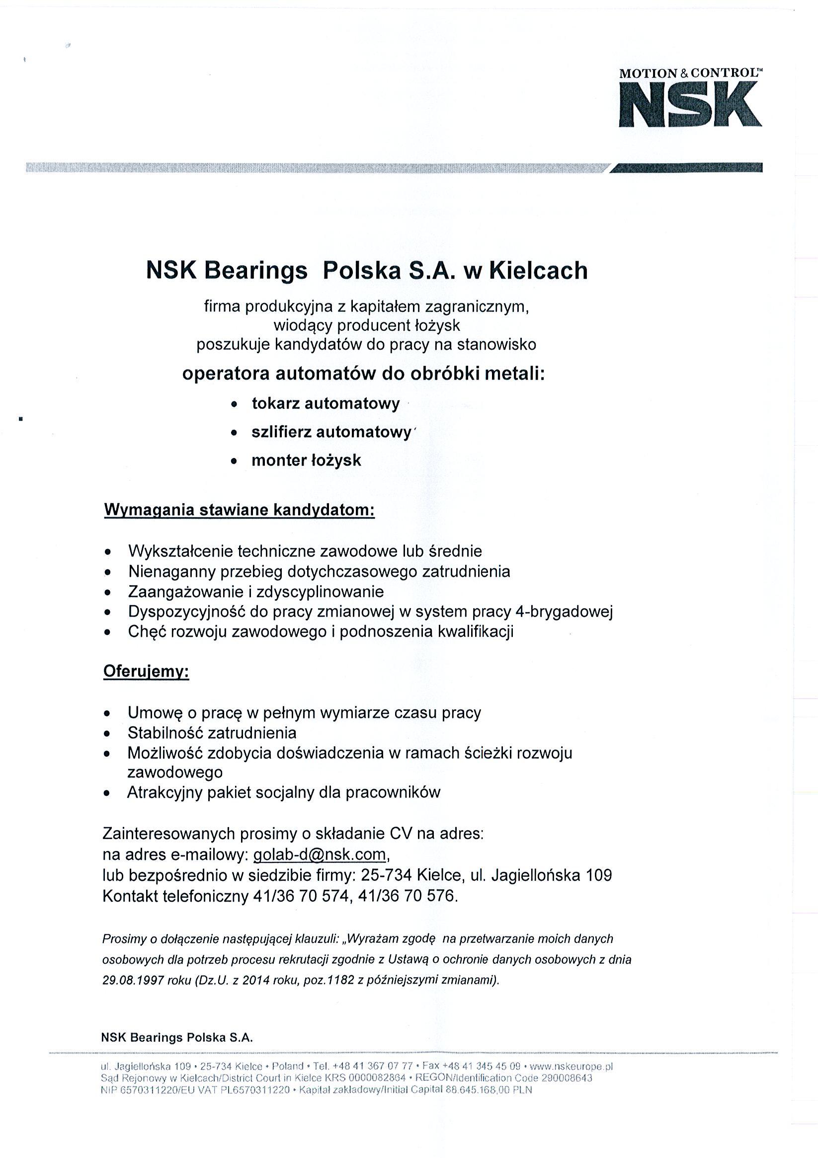 Oferta pracy NSK Bearings Polska S.A. wKielcach
